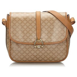 Céline-Celine Brown Macadam Crossbody Bag-Brown,Beige