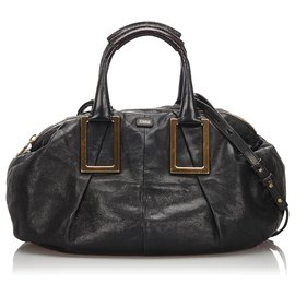 Chloé-Chloe Black Leather Ethel Satchel-Black