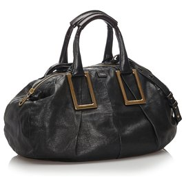 Chloé-Chloe Black Leather Ethel Satchel-Black