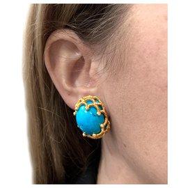 inconnue-Boucles d'oreilles Marchak en or jaune, turquoises et diamants.-Autre