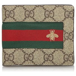Gucci-Gucci Brown GG Web Small Wallet-Brown,Multiple colors