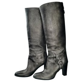 Céline-Golden grained leather riding boots-Silvery,Golden,Metallic