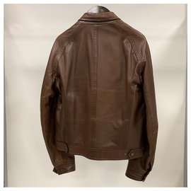 Salvatore Ferragamo-Leather bomber jacket-Brown