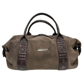 Roberto Cavalli-Nabuk suede weekend bag-Khaki