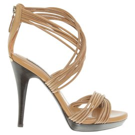 Burberry-High heeled sandals-Brown