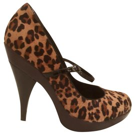 Kurt Geiger-Pony-style calf leather Mary Janes-Leopard print