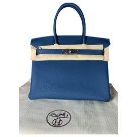 Hermès-HERMES BIRKIN BAG BAG 30 TOGO CALF NEVER WORN-Blue