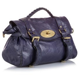 Mulberry-Mulberry Blue Leather Alexa Satchel-Blue,Dark blue