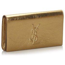 Yves Saint Laurent-Pochette Belle de Jour en cuir métallisé or YSL-Doré