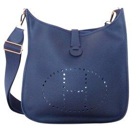 Hermès-HERMES SAC EVELYNE III 33-Bleu foncé