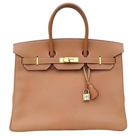 Hermès-Hermès Birkin handbag 35 Natural Epsom leather Golden jewelry-Beige
