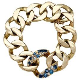 Autre Marque-Bracelet Seaman Schepps en or jaune, diamants et saphirs.-Autre