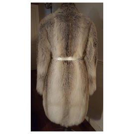 Lanvin-Manteau en renard beige-Beige