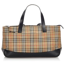 Burberry-Burberry Brown Haymarket Check Canvas Handbag-Brown,Multiple colors,Beige
