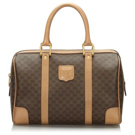 Céline-Celine Brown Macadam Boston Bag-Brown,Beige