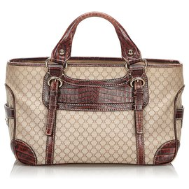 Céline-Celine Brown Macadam Boogie-Brown,Beige,Dark brown