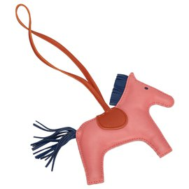 Hermès-Hermes Pink Grigri Rodeo Bag Charm-Pink,Blue