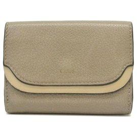 Chloé-Chloé Leather Bifold Compact-Grey