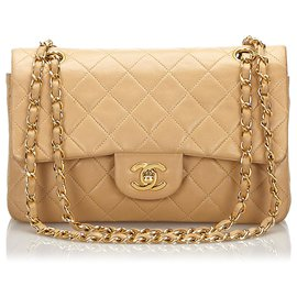 Chanel-Chanel Brown Classic Small Lambskin lined Flap Bag-Brown,Beige