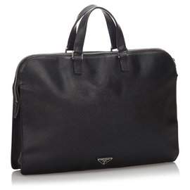 Prada-Sac d'affaires Prada en cuir Saffiano noir-Noir