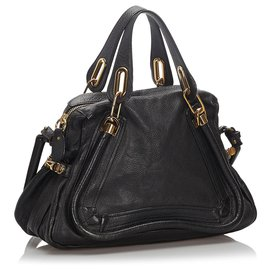 Chloé-Chloe Black Leather Paraty Satchel-Black
