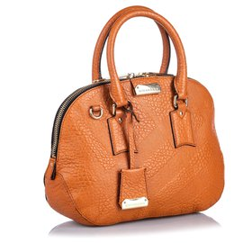 Burberry-Burberry Brown Grained Leather Orchard Satchel-Brown