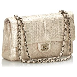 Chanel-Chanel Gold Classic Medium Python Leather lined Flap Bag-Pink,Golden,Other