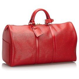 Louis Vuitton-Louis Vuitton Rouge Epi Keepall 50-Rouge