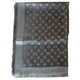 Louis Vuitton-Scialle Monogram Shine-Noir,Argenté