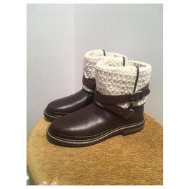 Chanel-Ankle Boots-Brown,White
