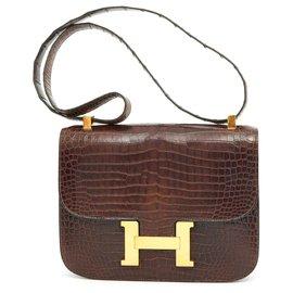 Hermès-CONSTANCE CROCO BROWN-Brown