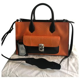 Balenciaga-balenciaga, Padlock WORK-Black,Orange