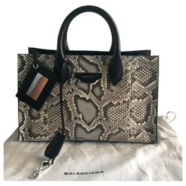 Balenciaga-BALENCIAGA WORK XS HANDBAG PYTHON LEATHER-Black,Beige
