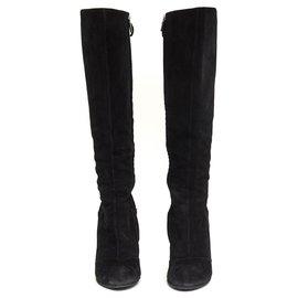 Yves Saint Laurent-BLACK SUEDE FR39.5 HALF WEDGE-Noir