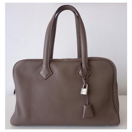 Hermès-HERMES VICTORIA ETOUPE BAG-Taupe