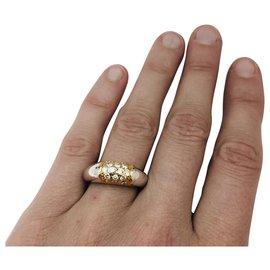 """Autre Marque-Bague Van Cleef & Arpels modèle """"Philippine"""" en or jaune et blanc, diamants.-Autre"""