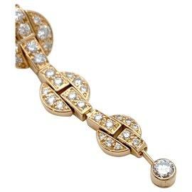 """Cartier-Boucles d'oreilles pendantes Cartier modèle """"Himalia"""" en or jaune, diamants.-Autre"""