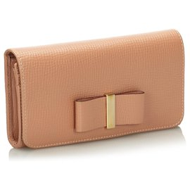 Chloé-Chloe Brown Leather Lily Long Wallet-Brown,Beige