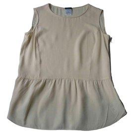 Chanel-CHANEL - Beige silk blouse T42-Beige