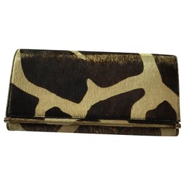 Bulgari-Bvlgari Leather Cowhide  Wallet Purse-Brown
