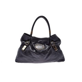 Chloé-Chloé Victoria Leather Bag-Black