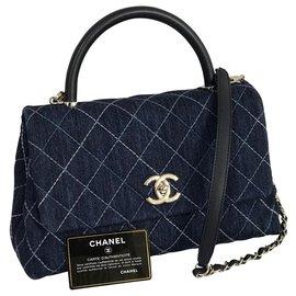 Chanel-2019 Coco-Griff 30 cm Tasche mit Box, Karte, Staubbeutel-Blau