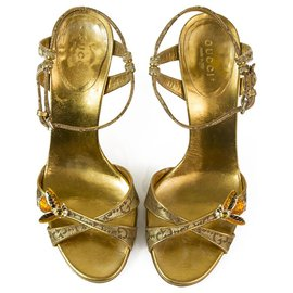 Gucci-Tom Ford For Gucci Golden Bee Ankle Tie Strappy Sandales à talons hauts Chaussures sz 37 C-Doré