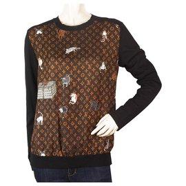 Louis Vuitton-Pull col rond en soie et laine Louis Vuitton x Grace Coddington Catogram SUPER RARE!-Noir,Multicolore