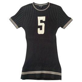 Chanel-CHANEL No 5 silk knit shirt FR36-Black