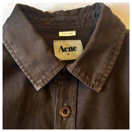Acne-Overshirt, workwear style-Brown