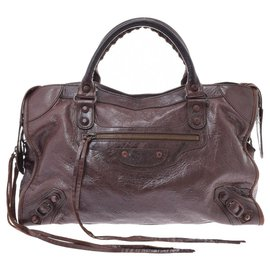 Balenciaga-Balenciaga City Leather Bag-Brown