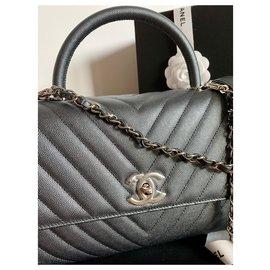 Chanel-Coco Handle Caviar Chevron SHW-Dark grey