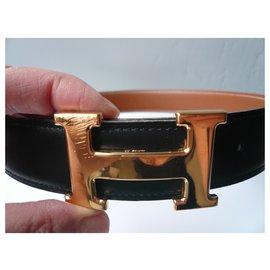 Hermès-HERMES Gold and Black Reversible Buckle and Belt 1998-Black