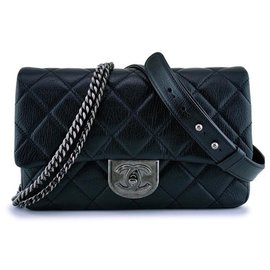 Chanel-CHANEL BLACK GRAINED MEDIUM DOUBLE CARRY CLASSIC FLAP BAG NEUF-Black